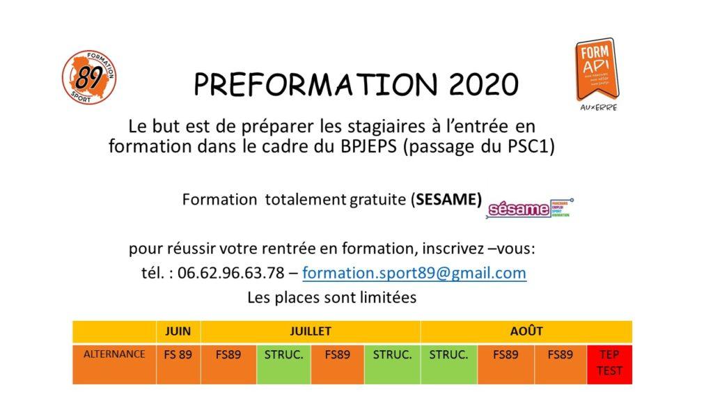Préformation 2020